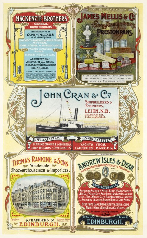 Advertisement for MacKenzie Brothers, Slateford Road, Edinburgh, James Mellis & Co Soap Manufacturers, Prestonpans, John Cran & Co Shipbuilders, Leith, Thomas Rankine & Sons Wholesale Shoewarehousemen & Importers, 3 Chambers Street, Edinburgh and Andrew Isles & Dean, 11 Blair Street, Edinburgh