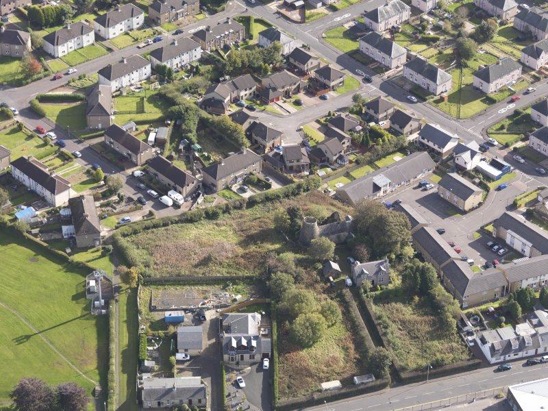 Oblique aerial view of High Mill Windmill Carluke, taken from the WNW.