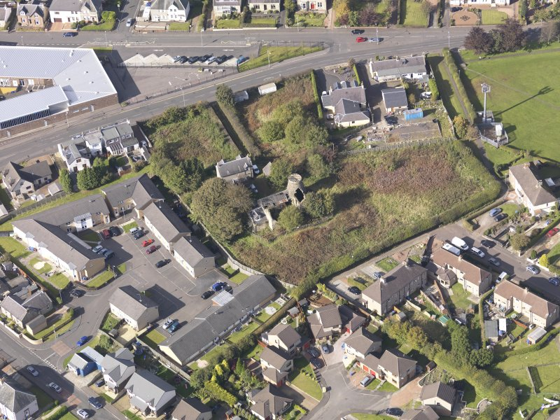 Oblique aerial view of High Mill Windmill Carluke, taken from the SE.
