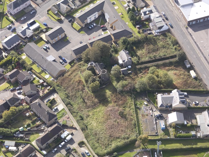 Oblique aerial view of High Mill Windmill Carluke, taken from the NE.