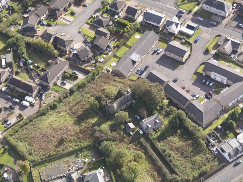 Oblique aerial view of High Mill Windmill Carluke, taken from the NW.