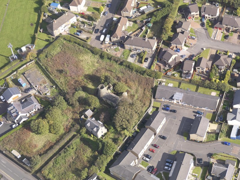 Oblique aerial view of High Mill Windmill Carluke, taken from the W.