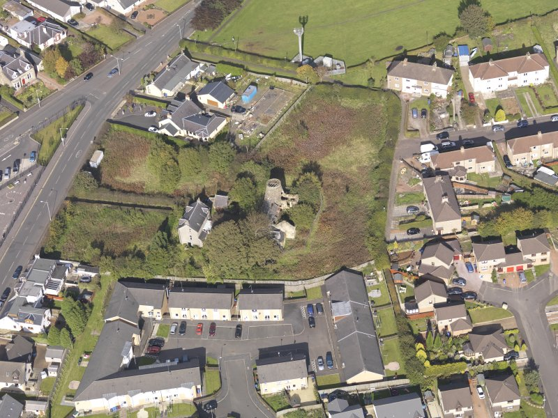 Oblique aerial view of High Mill Windmill Carluke, taken from the SSW.
