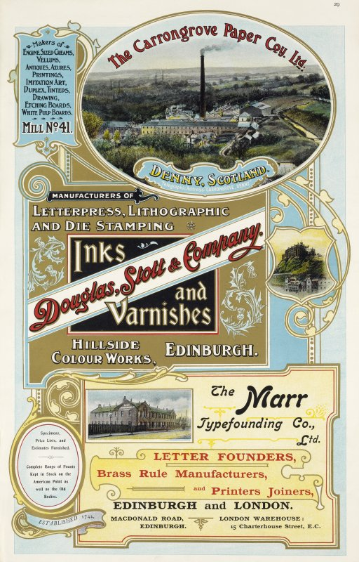 Advertisement for The Carrongrove Paper Co Ltd, Denny, Scotland, Douglas, Stott & Company, Hillside Colour Works, Edinburgh and The Marr Typefounding Co Ltd, Macdonald Road, Edinburgh