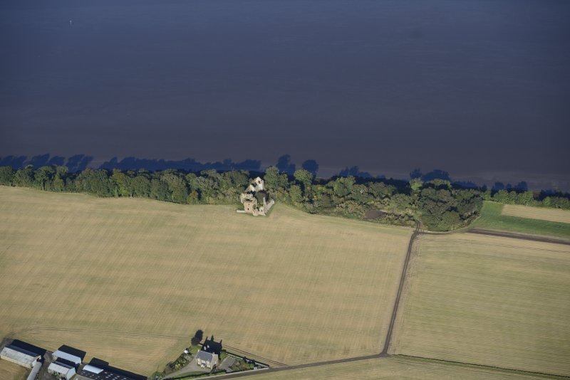 Oblique aerial view of Ballindreich Castle, taken from the SE.