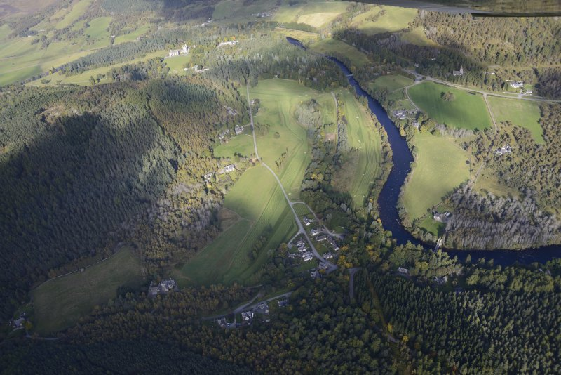 General oblique aerial view of the Balmoral Castle Estate centred on the new golf course, taken from the SE.
