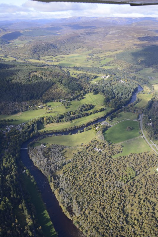 General oblique aerial view of the Balmoral Castle Estate centred on the new golf course, taken from the E.