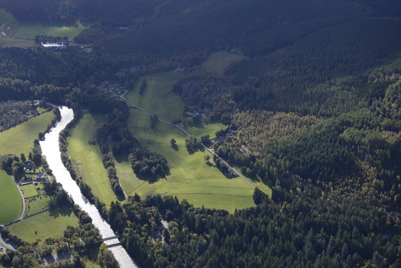 General oblique aerial view of the Balmoral Castle Estate centred on the new golf course, taken from the NNW.