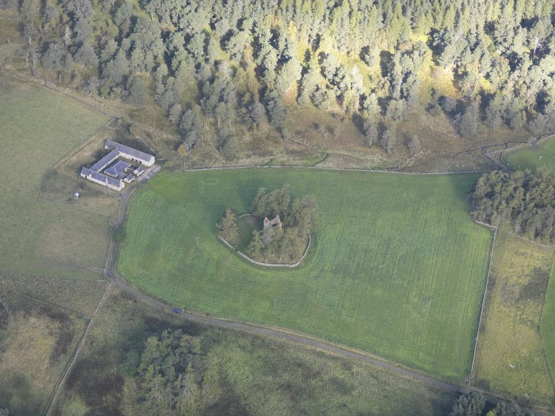 Oblique aerial view of Knock Castle, taken from the S.