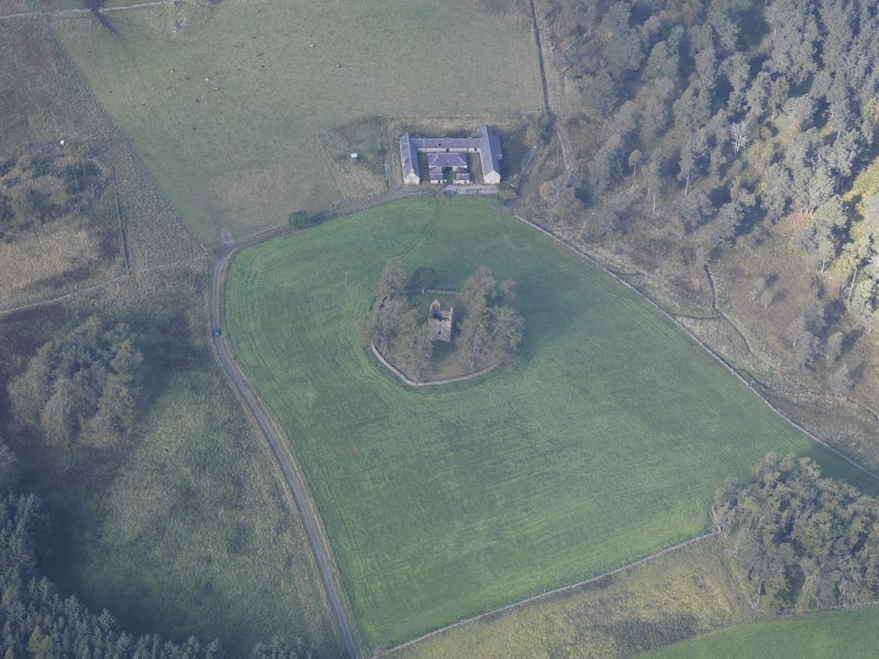 Oblique aerial view of Knock Castle, taken from the E.