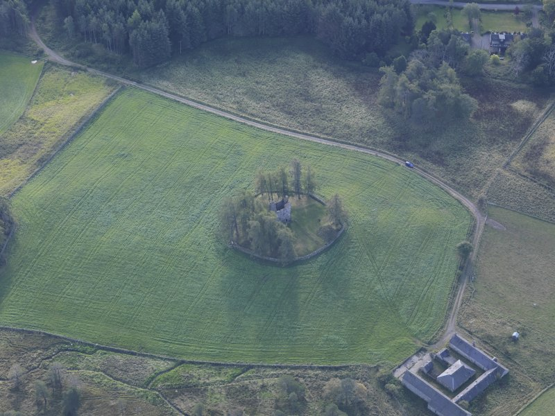 Oblique aerial view of Knock Castle, taken from the N.