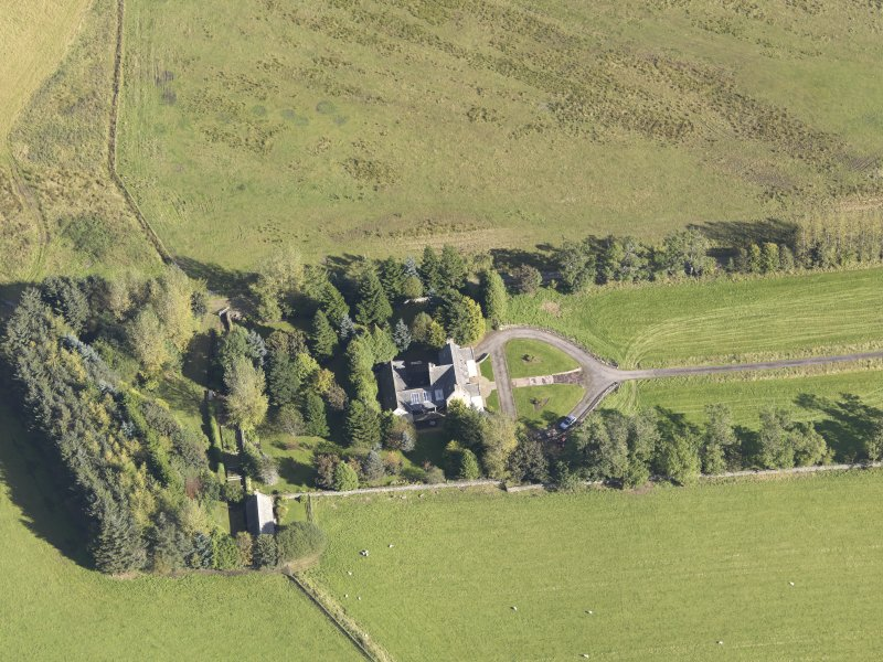 Oblique aerial view of Skellater House, taken from the SW.