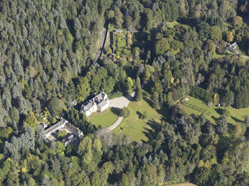 Oblique aerial view of Candacraig House, taken from the SSW.