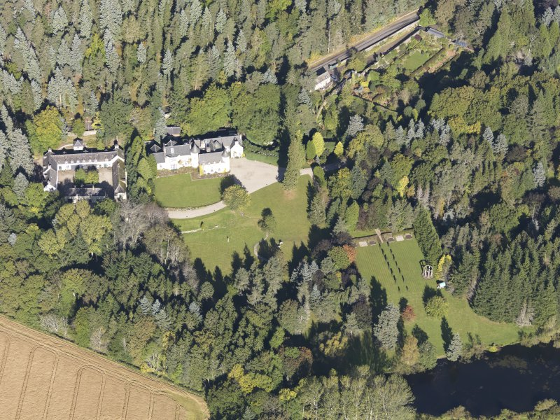 Oblique aerial view of Candacraig House, taken from the S.