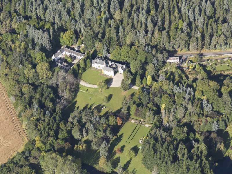 Oblique aerial view of Candacraig House, taken from the SE.