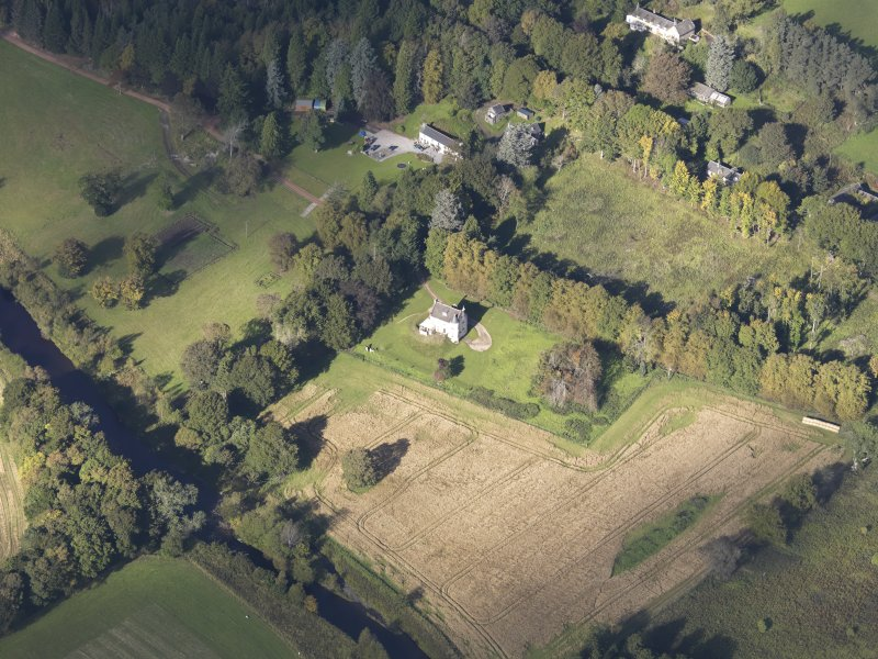 Oblique aerial view of Castle Newe, taken from the SE.