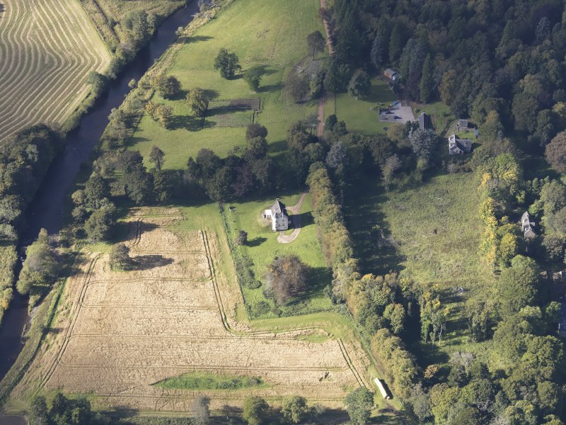 Oblique aerial view of Castle Newe, taken from the ENE.