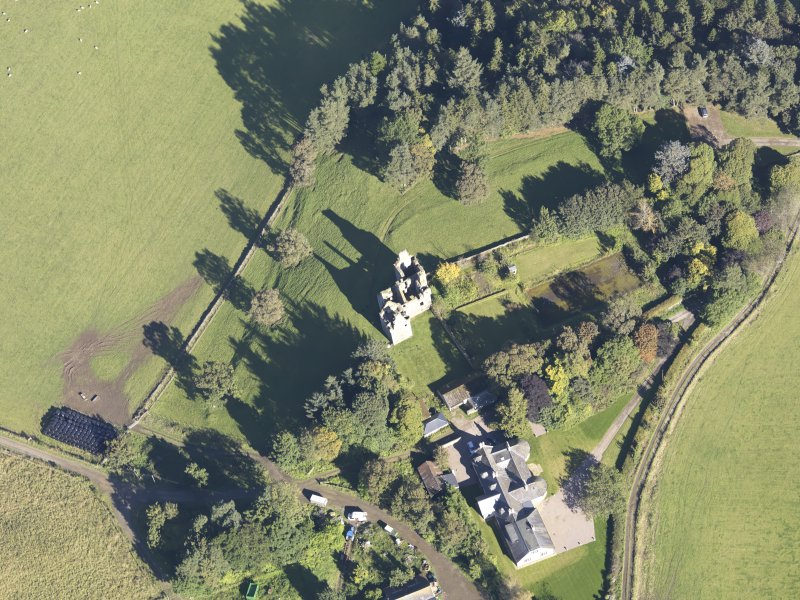 Oblique aerial view of Glenbuchat Castle, taken from the SSW.