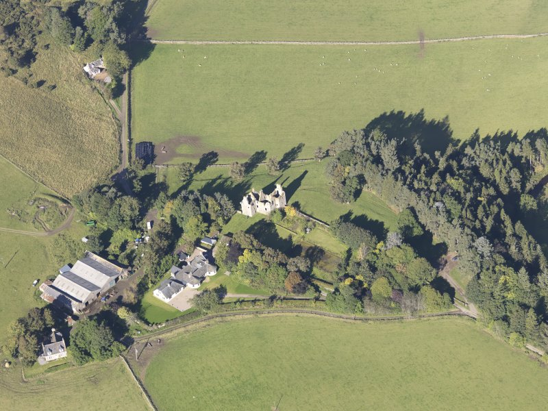 Oblique aerial view of Glenbuchat Castle, taken from the SE.