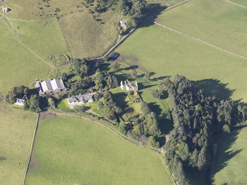 Oblique aerial view of Glenbuchat Castle, taken from the E