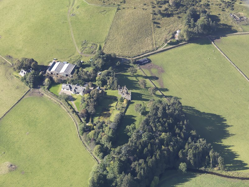 Oblique aerial view of Glenbuchat Castle, taken from the ENE.