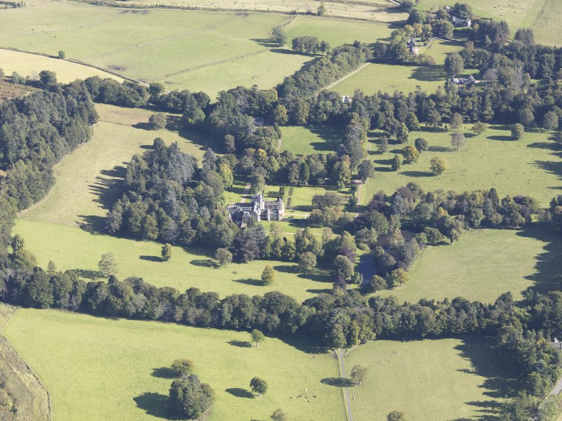 Oblique aerial view of Glenkindie House, taken from the WSW.