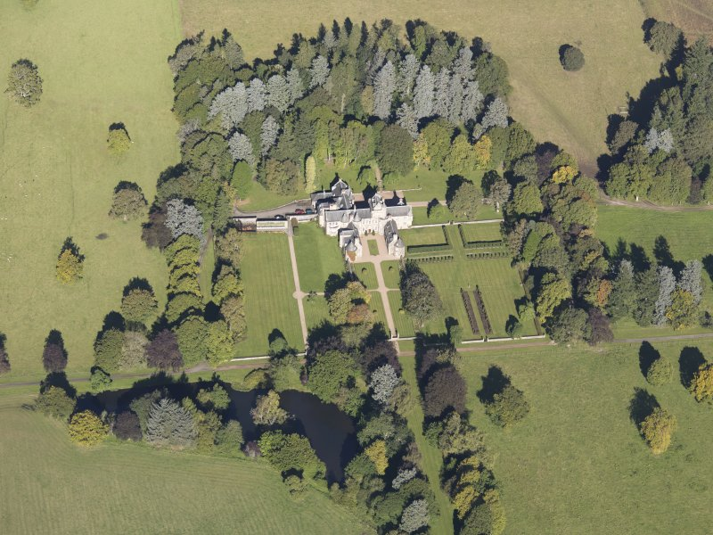 Oblique aerial view of Glenkindie House, taken from the S.