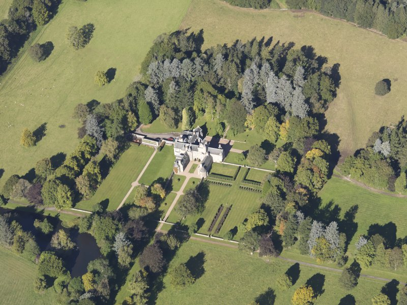 Oblique aerial view of Glenkindie House, taken from the SSE.