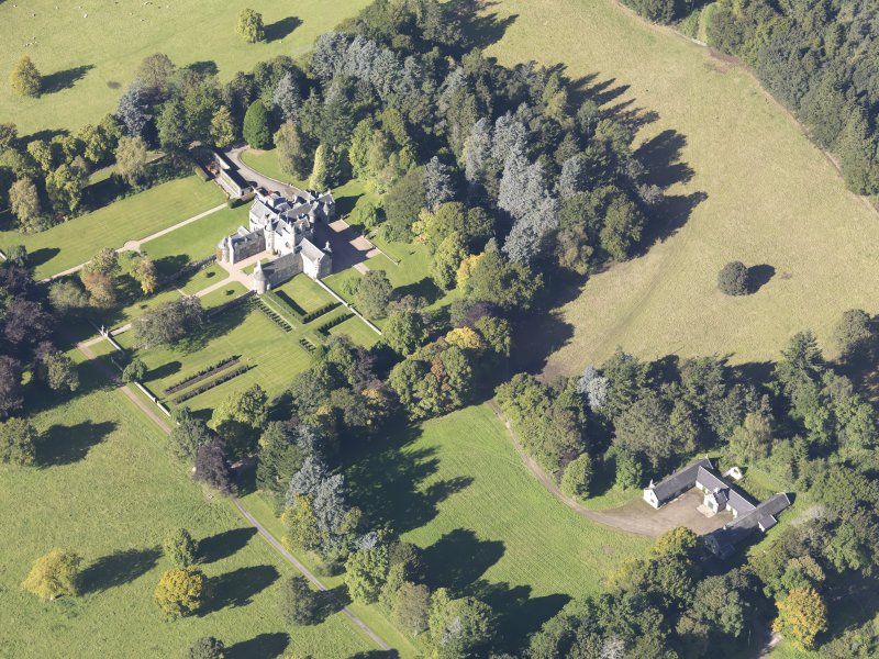 Oblique aerial view of Glenkindie House, taken from the SE.