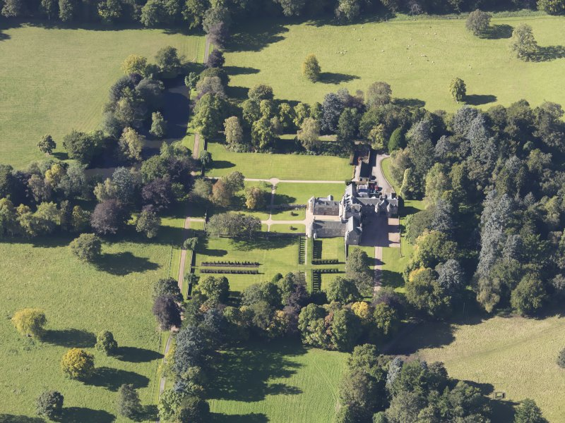 Oblique aerial view of Glenkindie House, taken from the E.