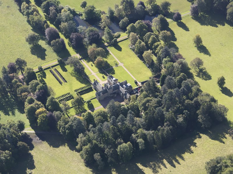 Oblique aerial view of Glenkindie House, taken from the N.