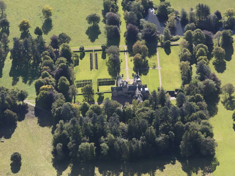 Oblique aerial view of Glenkindie House, taken from the NNW.