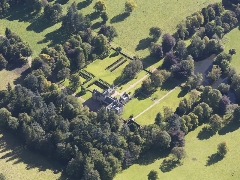Oblique aerial view of Glenkindie House, taken from the NW.