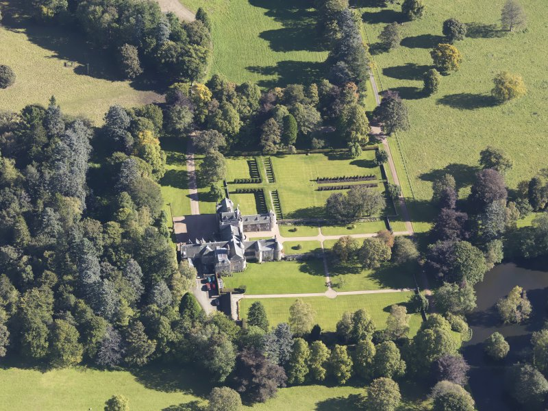 Oblique aerial view of Glenkindie House, taken from the WNW.