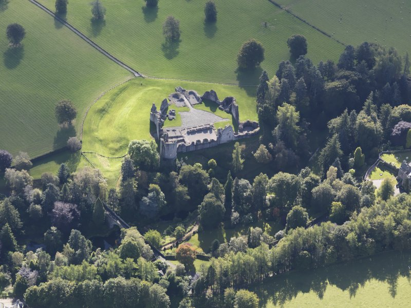 Oblique aerial view of Kildrummy Castle, taken from the N.
