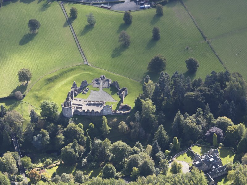 Oblique aerial view of Kildrummy Castle, taken from the NNW.
