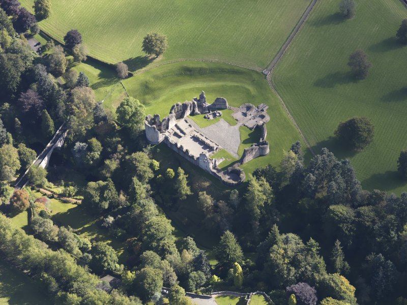 Oblique aerial view of Kildrummy Castle, taken from the WNW.