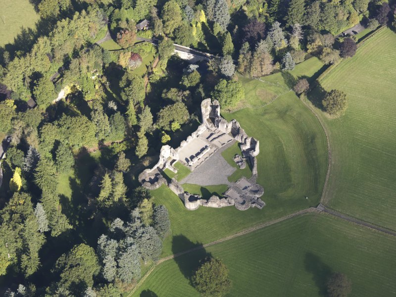 Oblique aerial view of Kildrummy Castle, taken from the S.