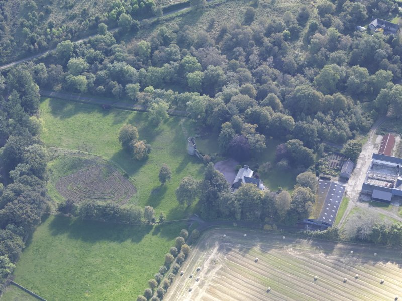 Oblique aerial view of Asloun Castle, taken from the NNW.