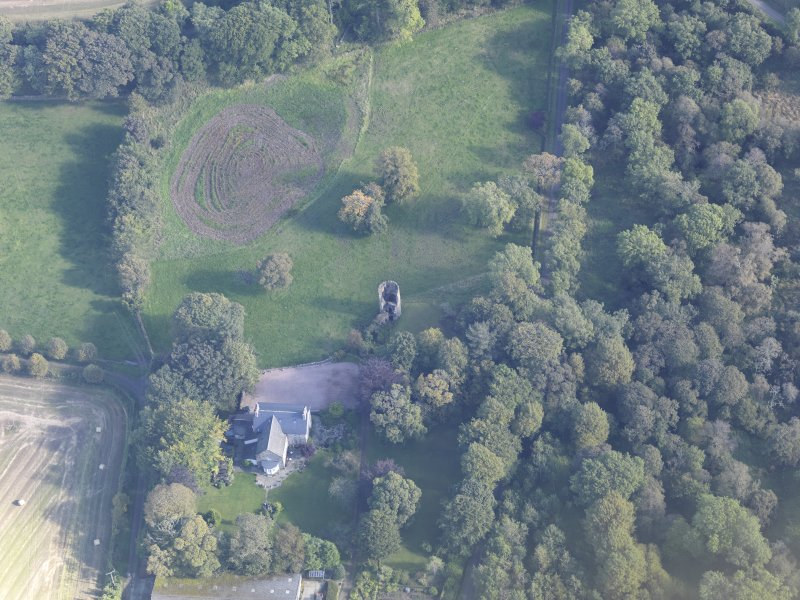 Oblique aerial view of Asloun Castle, taken from the WSW.