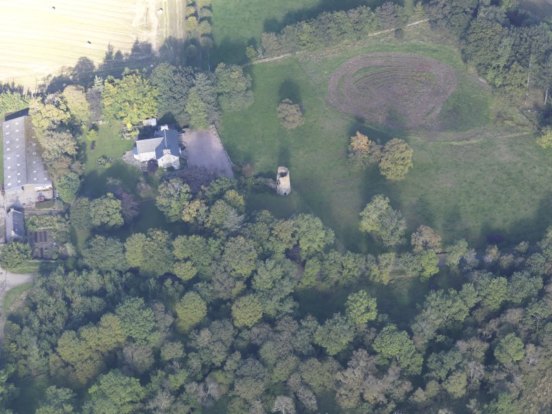 Oblique aerial view of Asloun Castle, taken from the S.