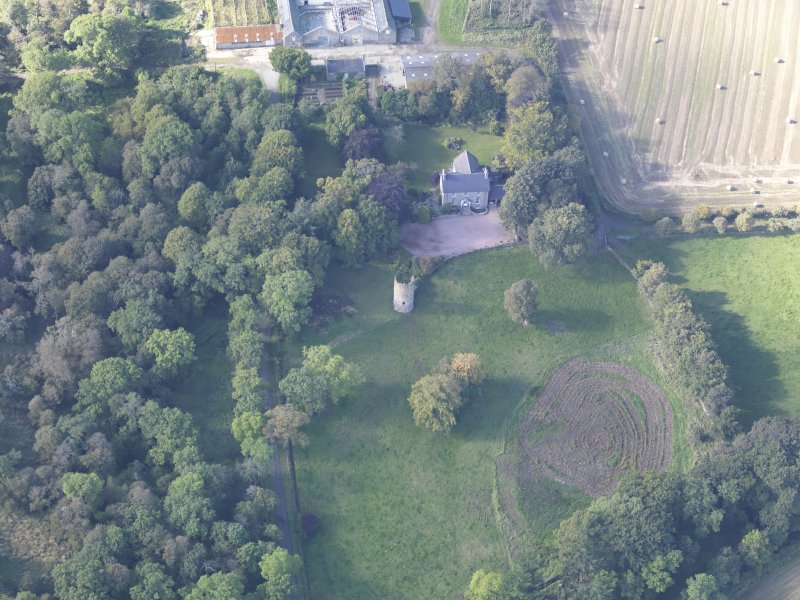 Oblique aerial view of Asloun Castle, taken from the E.