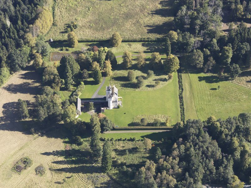 Oblique aerial view of Aboyne Castle, taken from the W.