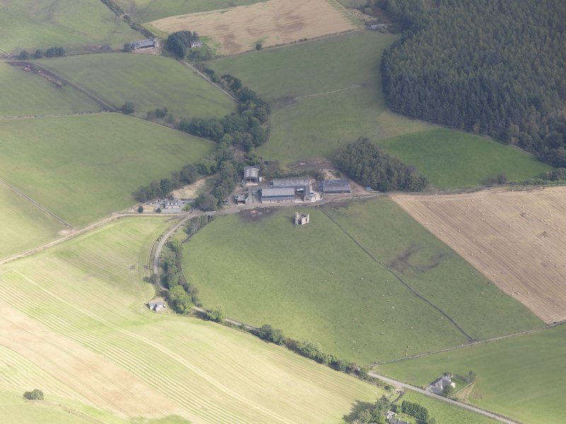 Oblique aerial view of Cluny Crichton Castle, taken from the SW.