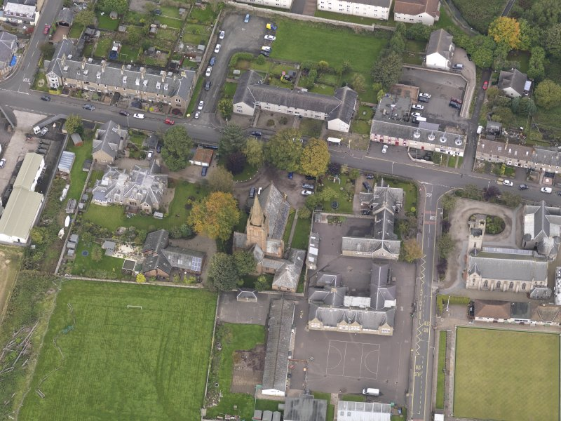 Oblique aerial view of St Columba's Church Invergowrie, taken from the S.