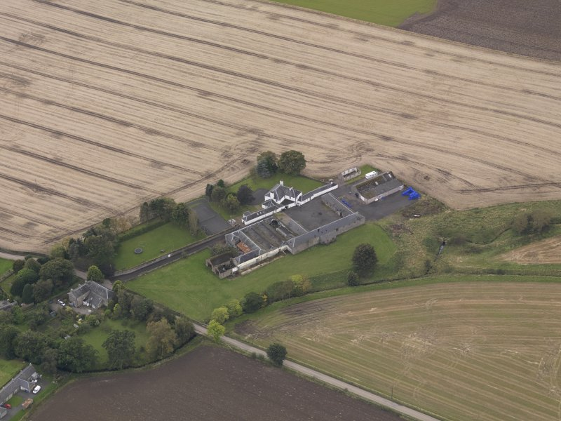 Oblique aerial view of Benvie Farm Buildings, taken from the NNE.