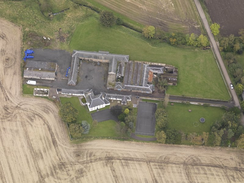Oblique aerial view of Benvie Farm Buildings, taken from the S.