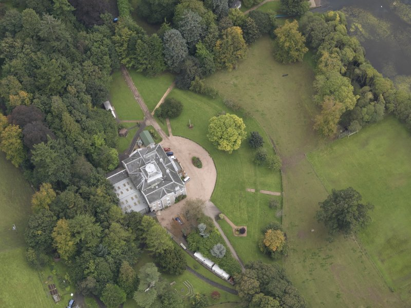 Oblique aerial view of Ballindean House, taken from the W.