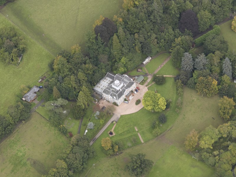 Oblique aerial view of Ballindean House, taken from the SSE.