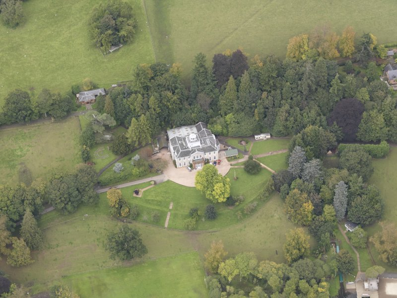 Oblique aerial view of Ballindean House, taken from the S.